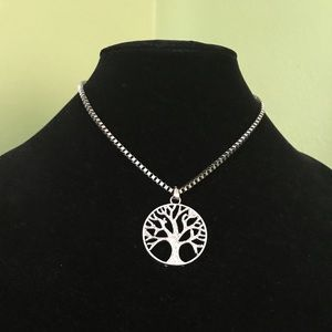 Used boxed necklace with tree of Life pendant